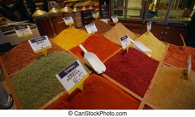Spices and herbs on a counter of street shop Turkish Bazaar