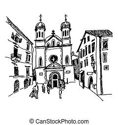 black and white sketch drawing of Church of Saint Tryphon -...