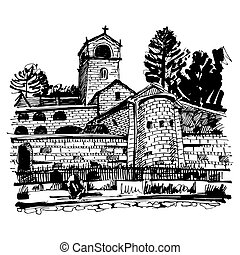 black and white hand drawing of Cetinje monastery - ancient...