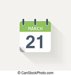 21 march calendar icon on grey background
