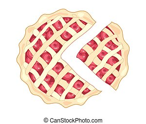cherry pie slice - a vector illustration in eps 8 format of...
