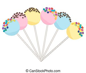 colorful cake pops - a vector illustration in eps 10 format...