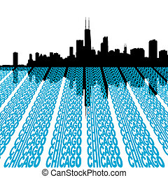 Chicago Skyline with text - Chicago Skyline reflected with...