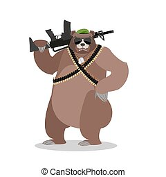 Military Bear with rifle. Grizzlies with gun. Wild beast and machine-gun tape. Animal soldiers. Army style. Soldiers badge and green beret