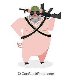 Military Pig with rifle. Boar with gun. hog and machine-gun...