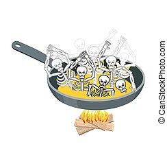 Sinners in pan. Skeletons in boiling oil. Hells torments....