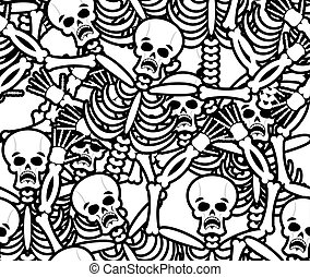 Sinners seamless pattern. Skeleton in Hell background....