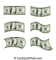 USA money Set of dollars Developing cash of various shapes