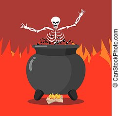 Sinners in cauldron in hell. Skeletons are cooked in resin...