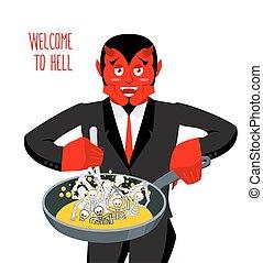 Satan roasts sinners in pan. Skeletons in boiling oil....
