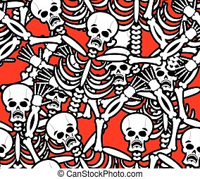 Hell seamless pattern. Skeleton in Sinners background....