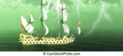 Abandoned historic sailing ship in the stormy sea with a lightning strike 3d rendering