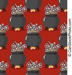 Sinners in pot in Hell seamless pattern Skeletons are cooked...