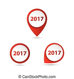 Set of 3D vector pointer with the number of new year 2017