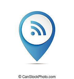 3d vector pointer with wifi icon