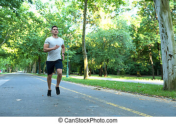 A handsome young man jogging in a park - A handsome young...