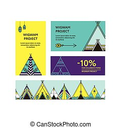 Business cards and promotional flyers with wigwams -...