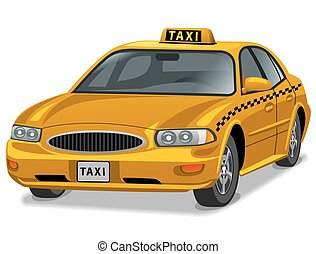 yellow taxi car - illustration of yellow taxi car auto sedan