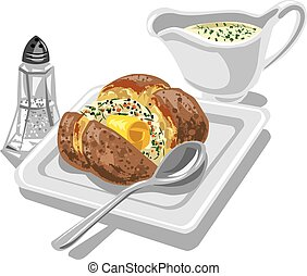 baked potato with sauce and butter on plate