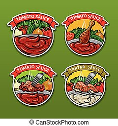 tomato sauces stickers - vector illustrations of tomato and...