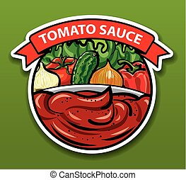 sticker of tomato sauce - label and sticker of tomato sauce