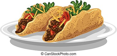 tacos on plate - illustration of tacos with meat mince,...