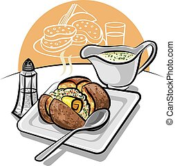 baked potato with sauce - illustration of baked potato with...