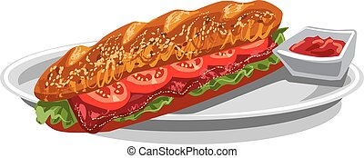 french baguette sandwich - illustration of french baguette...