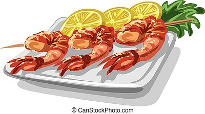 grilled shrimps on skewer - illustration of grilled shrimps...