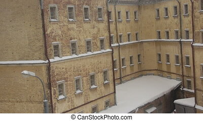 View of old prison building in winter - Fragment of old...