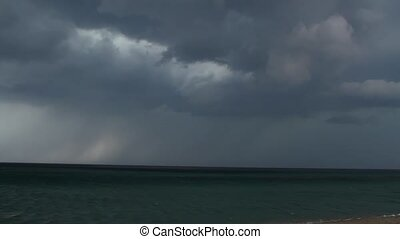 Thunderstorm over the sea - Taymlaps. Stormy sea abstract...
