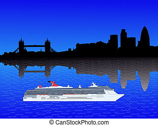 London skyline with cruise ship on River Thames illustration