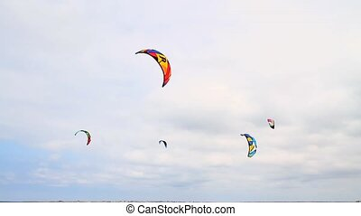 wings for skiing on the water - Wings for kite against the...