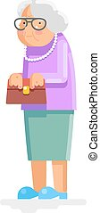 Grandmother Old Adult Flat Design Vector Illustration -...