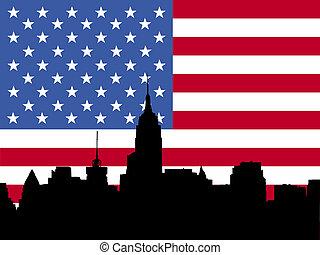sylwetka na tle nieba, Bandera,  Manhattan