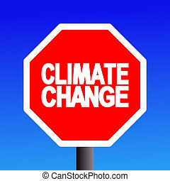 stop Climate change sign on blue sky illustration