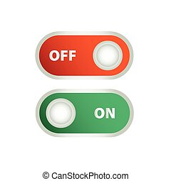 Toggle switch icon, on, off position icons
