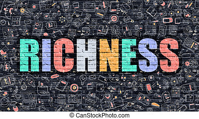 Richness in Multicolor Doodle Design - Richness Concept...