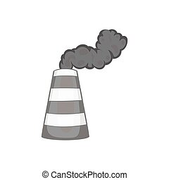 Industrial smoke from chimney icon - icon in black...