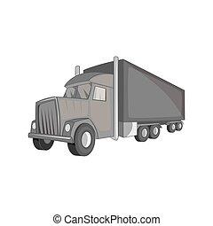 Semi trailer truck icon, black monochrome style