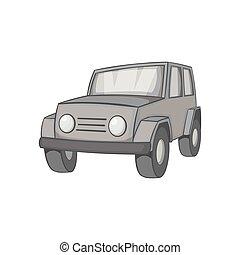 Jeep icon, black monochrome style - icon in black monochrome...