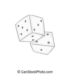 Two dice cubes icon, black monochrome style