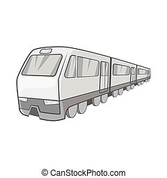 Suburban electric train icon - icon in black monochrome...