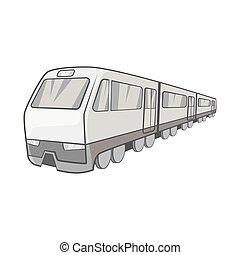 Suburban electric train icon - icon in black monochrome...