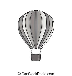 Air balloon icon, black monochrome style - icon in black...