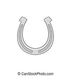 Horseshoe icon, black monochrome style