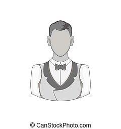 Casino croupier icon, black monochrome style