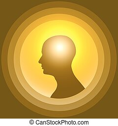 Silhouette of the human head with glowing brain. Design...
