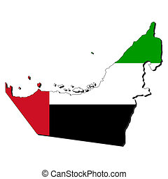 map flag of UAE - map of UAE and their flag illustration