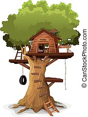 Tree House - Illustration of a cartoon kid's tree house,...